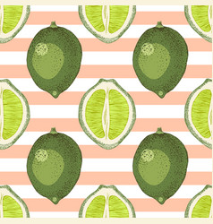 seamless pattern with hand drawn lime branches vector image