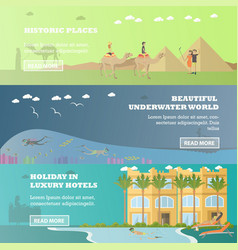 set egypt horizontal banners in flat vector image