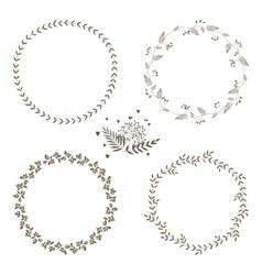 set of 4 circle cute hand drawn frames vector image