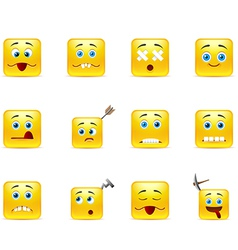 Set unhealthy funny smiles vector image
