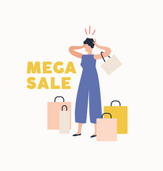 shocked woman holding head surrounded shopping vector image