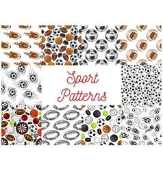 Sport balls seamless patterns vector