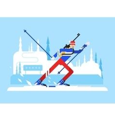 Sportsman biathlon character vector image