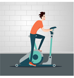 Stationary bicycle young man is cycling on a vector