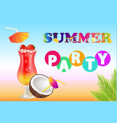 Summer party poster headline vector