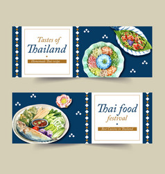 Thai food banner design with dry rice salad vector