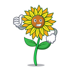 thumbs up sunflower character cartoon style vector image