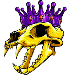 Tiger skull with crown design vector