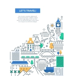 Travel composition - line flat design banner vector image