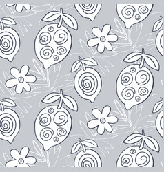 tropical lemon fruits seamless pattern vector image