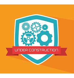 Under construction over yellow background vector