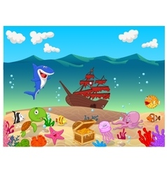 Underwater background with old ship vector
