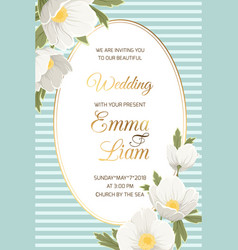 wedding invitation anemone hellebore white flowers vector image