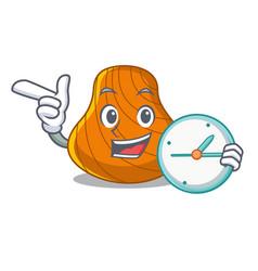 With clock hard shell character cartoon vector