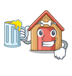 with juice dog house isolated on mascot cartoon vector image