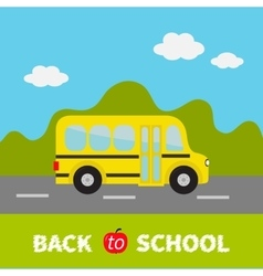 Yellow school bus kids Green grass and road vector image