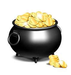 Cauldron or a black pot full of gold coins vector
