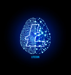 crypto currency lightcoin brain background vector image vector image