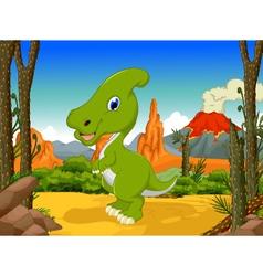 funny Parasaurolophus cartoon with volcano vector image vector image
