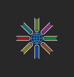 Logo books encyclopedia multicolored books vector