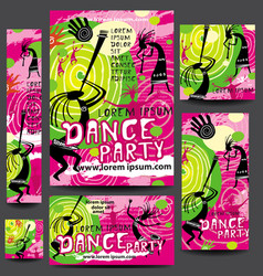 set of party or festival poster template vector image vector image