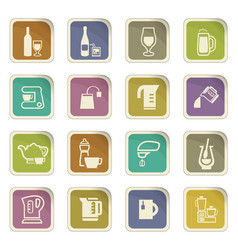utensils for the preparation of beverages icons vector image