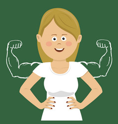 young woman with sketched muscled arms vector image