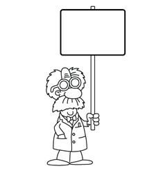 Cartoon Scientist with sign vector image