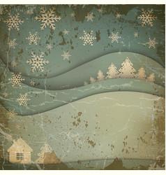 Christmas night landscape background vector image