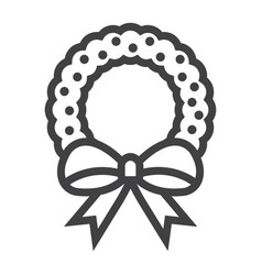 christmas wreath with bow line icon new year vector image vector image
