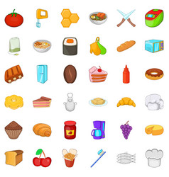 comestible icons set cartoon style vector image vector image