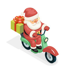 Isometric 3d gift box santa claus delivery courier vector