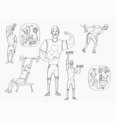 people workout with sports equipments exercises vector image vector image
