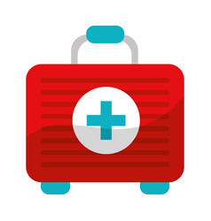 Red first aid kit medications tools vector