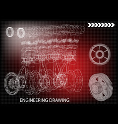 The car engine and gears vector