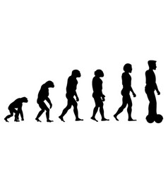 evolution theory from monkey to man on scooter vector image