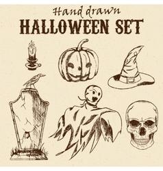 Hand Drawn Halloween characters set vector image