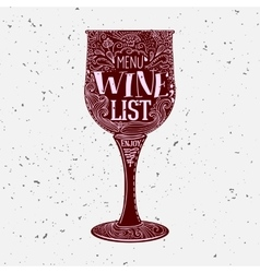 Hand lettered Wine List menu vector image