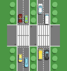 highway traffic in rush hour poster in flat style vector image