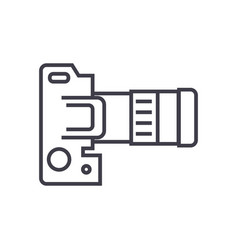 camera dslr top view line icon sign vector image vector image