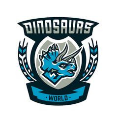 Colorful emblem logo dinosaur of the jurassic vector
