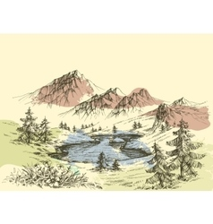 Lake in the mountains vector