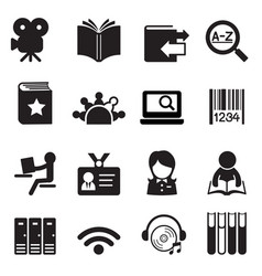 library icons symbol 2 vector image vector image