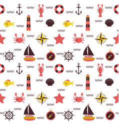 marine cartoon seamless pattern sea theme vector image