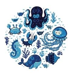 Set of cartoon marine animals in round frame vector image vector image