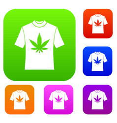 t-shirt with print of cannabis set collection vector image vector image