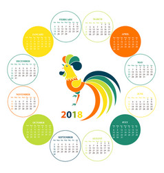 Wall calendar for 2018 from sunday to saturday vector