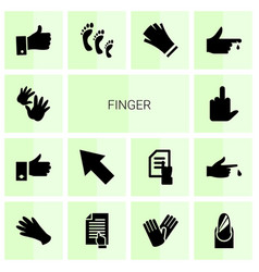 14 finger icons vector