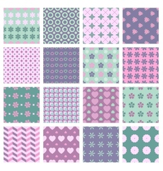 16 seamless spring patterns vector image