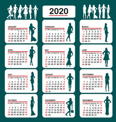 2020 calendar with fashion silhouettes women vector image